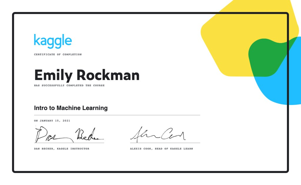 Kaggle Intro to Machine Learning Course Certificate