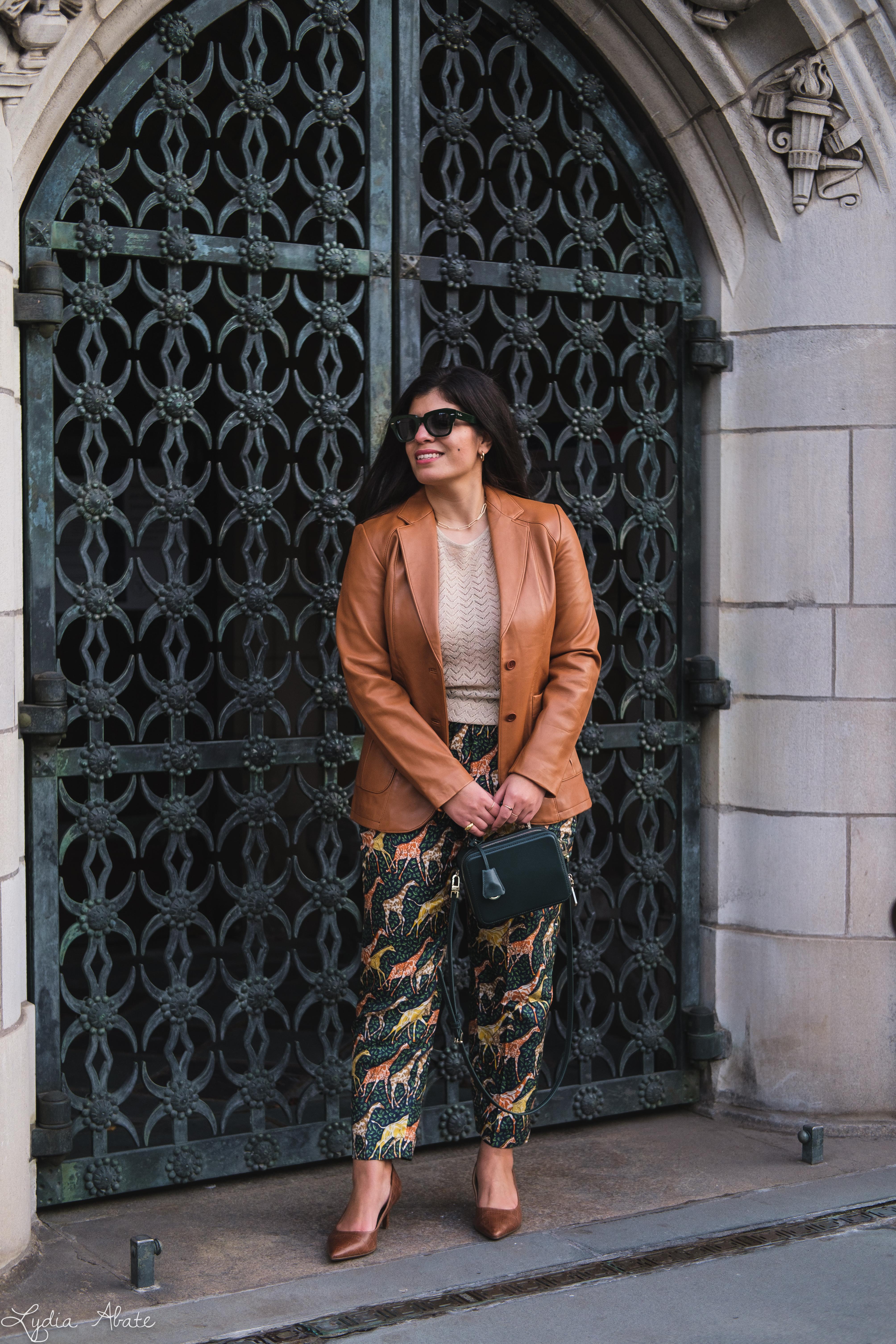giraffe pants, leather blazer knit top, green bag, croc heels-6.jpg