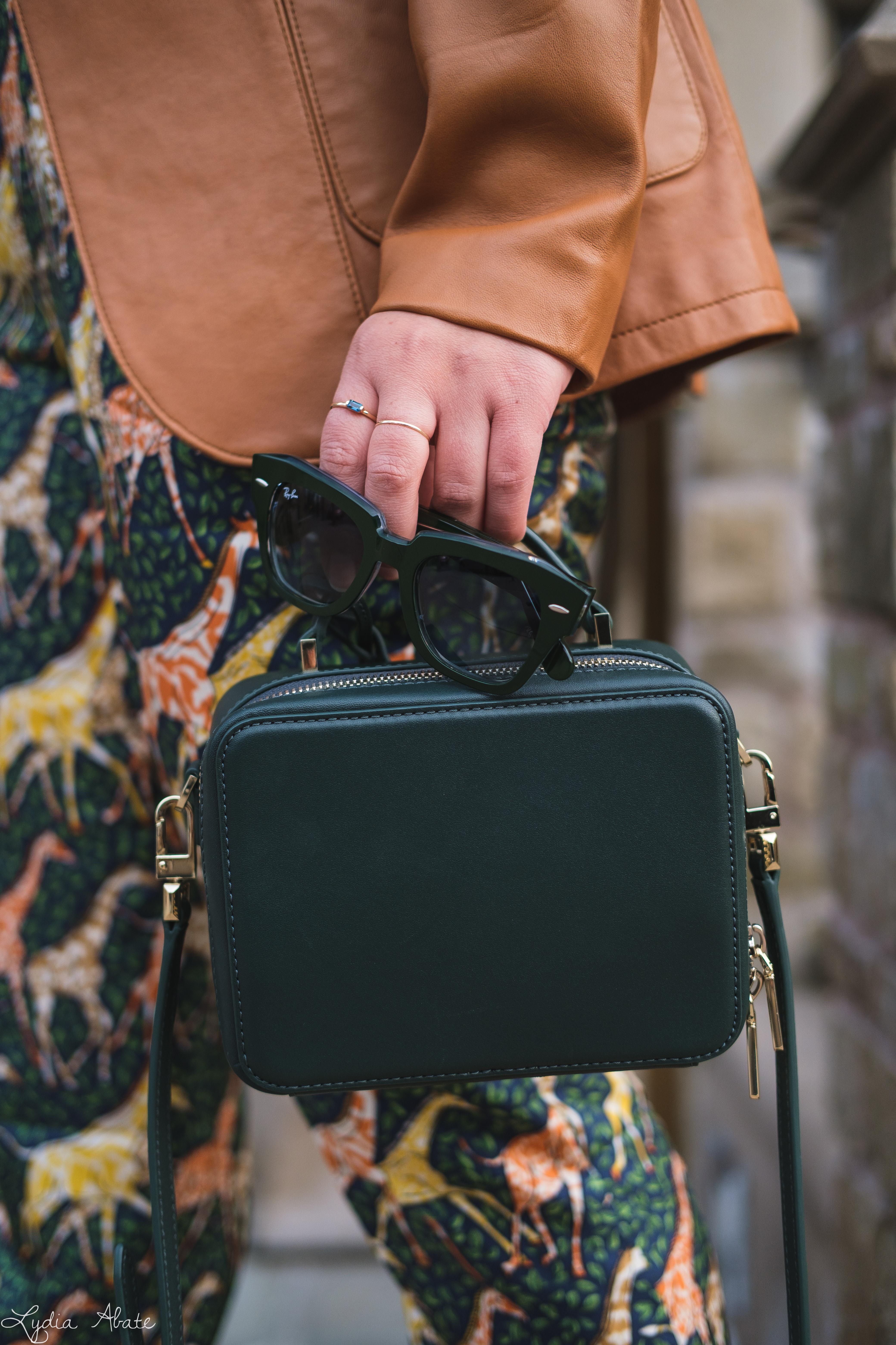 giraffe pants, leather blazer knit top, green bag, croc heels-13.jpg