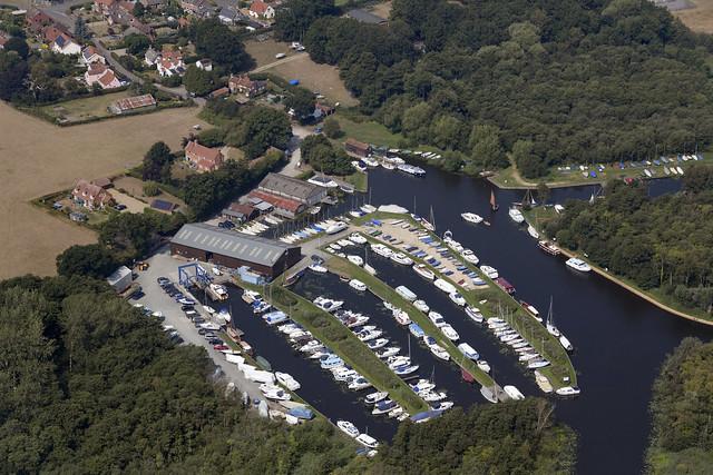 Barton Turf aerial image - Cox's Boatyard - Norfolk UK