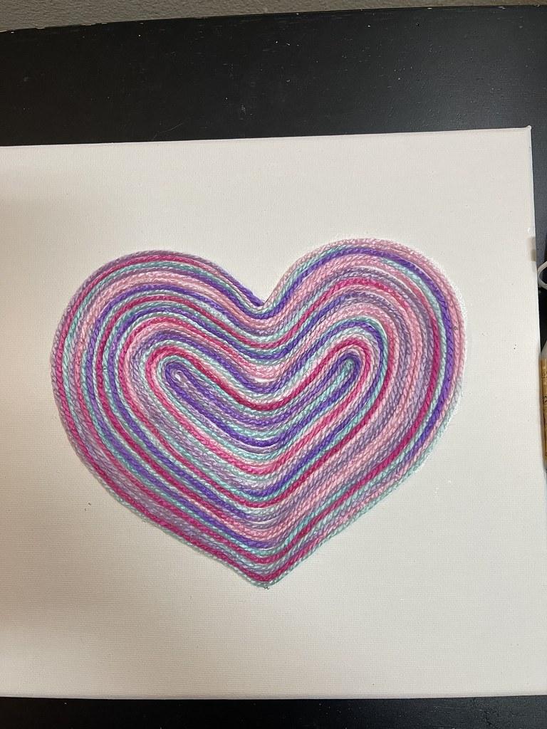 DIY Multicolor Spiral Yarn Heart Canvas