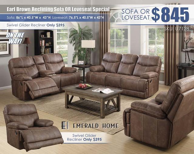 Earl Brown Reclining Sofa OR Loveseat_U7128