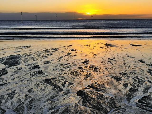 Newbiggin Bay - Sand Rivulets and Turbines