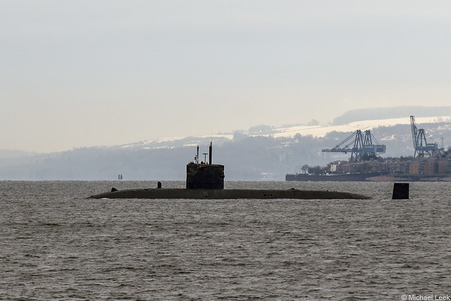 Unidentified Royal Navy Trafalgar-class nuclear attack submarine (SSN); Firth of Clyde, Argyll & Bute, Scotland