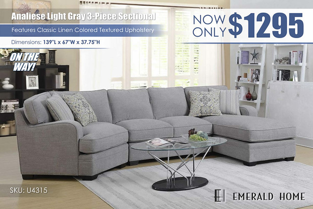Analiese Light Gray 3 PC Sectional_U4315