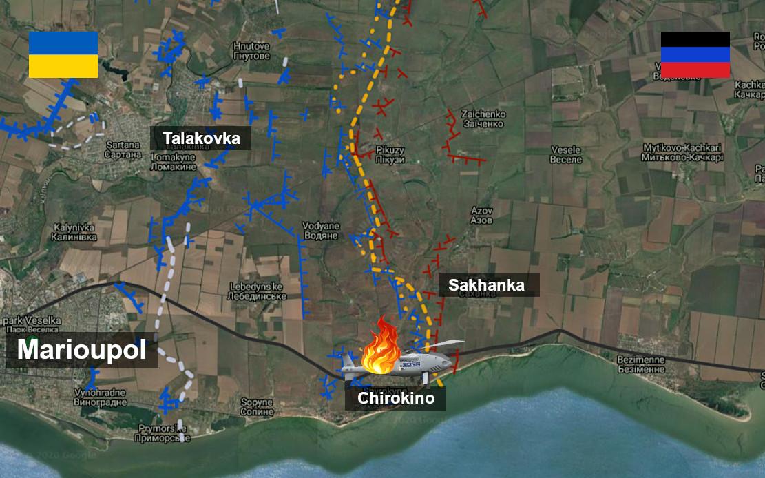 Tirs de l'armée ukrainienne ayant abattu un des drones de l'OSCE à Chirokino