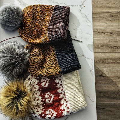 Colourwork hats all knit by Veronica (xovee.knits)