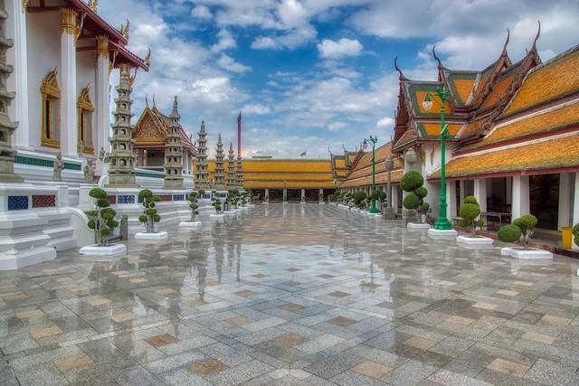 Reflections at Wat Suthatthepwararam Waraviharn in Bangkok, Thailand