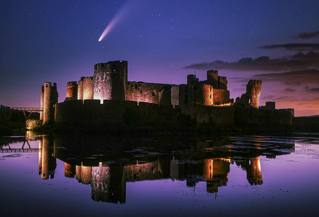 Comet Neowise behind Caerphilly Castle July 2020