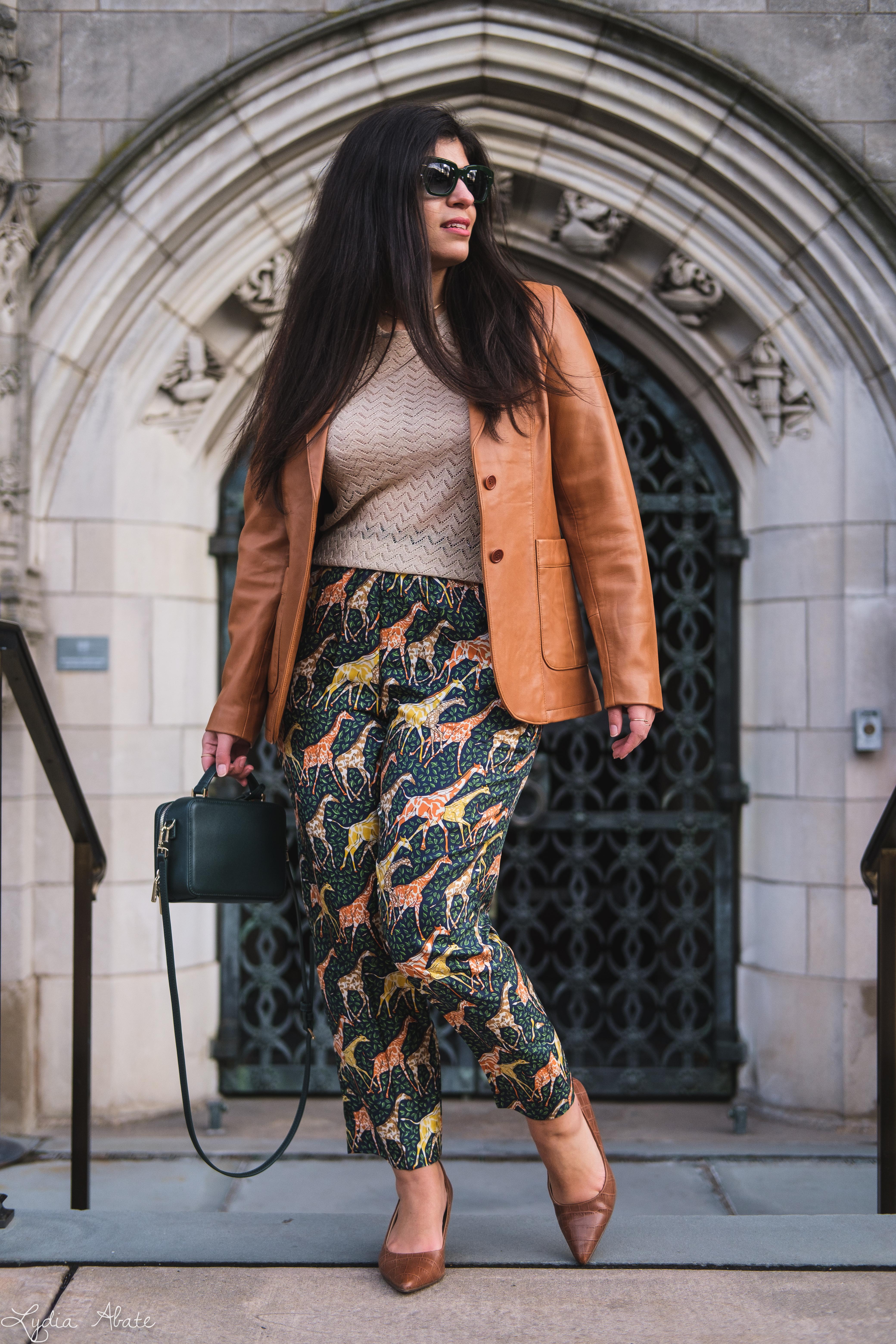 giraffe pants, leather blazer knit top, green bag, croc heels-8.jpg