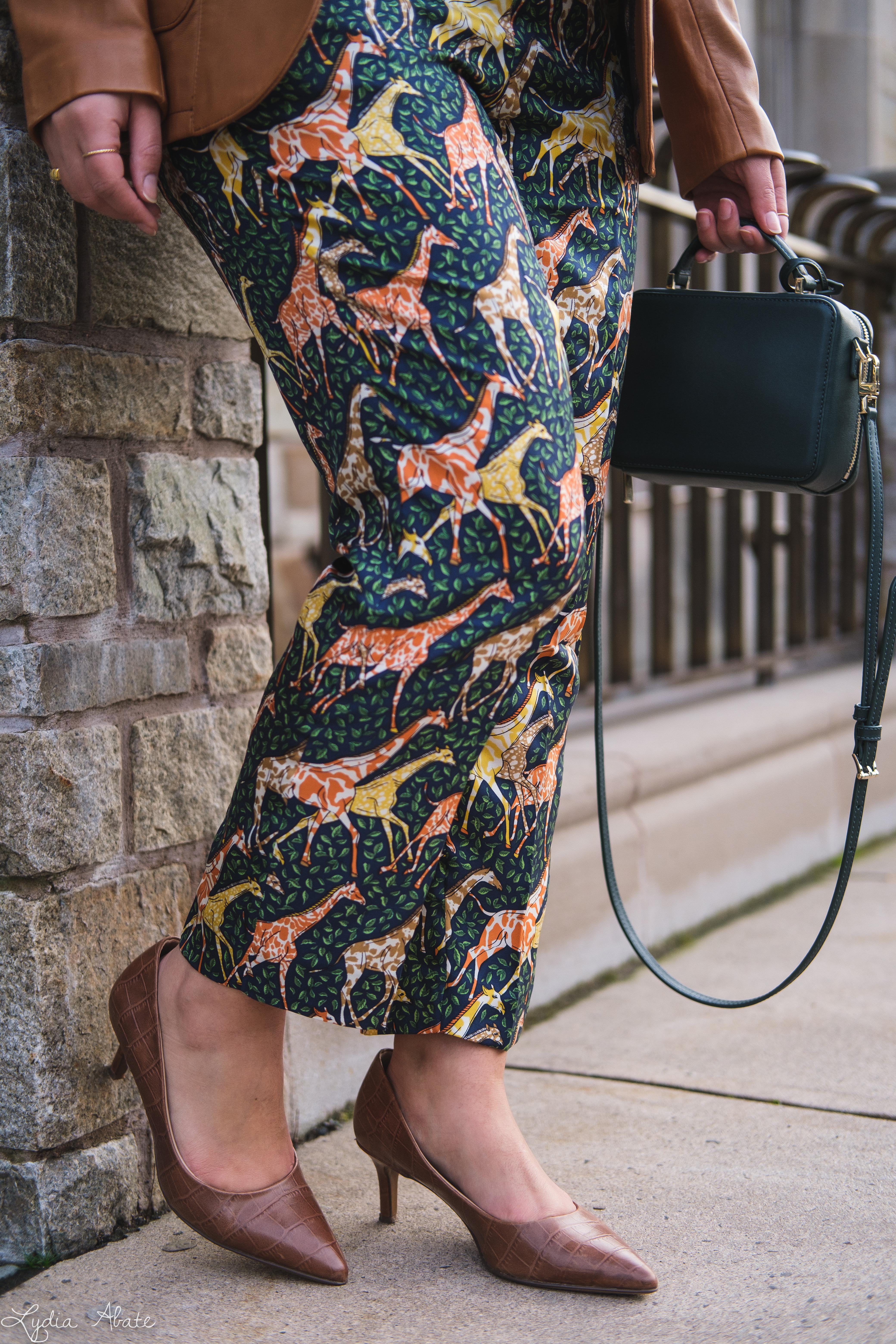 giraffe pants, leather blazer knit top, green bag, croc heels-9.jpg