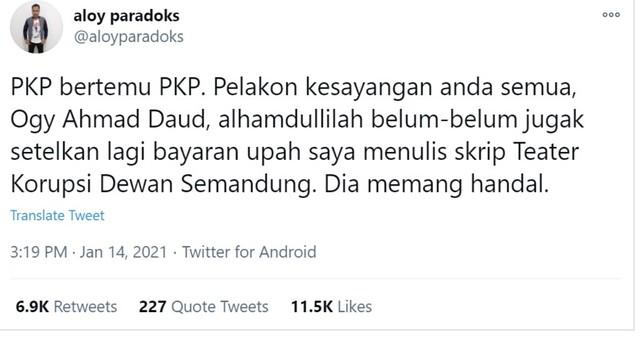 Sudah Dua Kali PKP, Penulis Teater Kesal Ogy Belum Langsai Hutang
