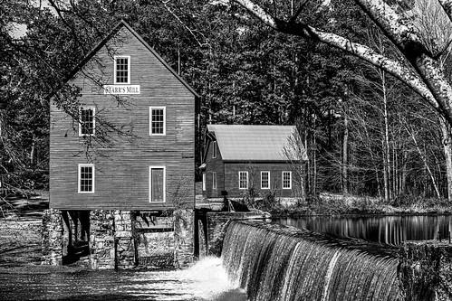 starrsmill building historic landscape red water waterfall blackandwhite monochrome
