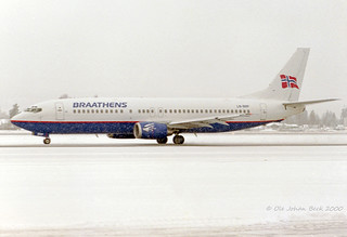 Boeing 737-405 LN-BRP at ENGM/OSL 22-01-2000 | by Ole Johan Beck
