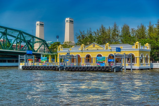 Saphan Phut pier by the Chao Phraya river next to Phra Pokklao bridge in Bangkok, Thailand