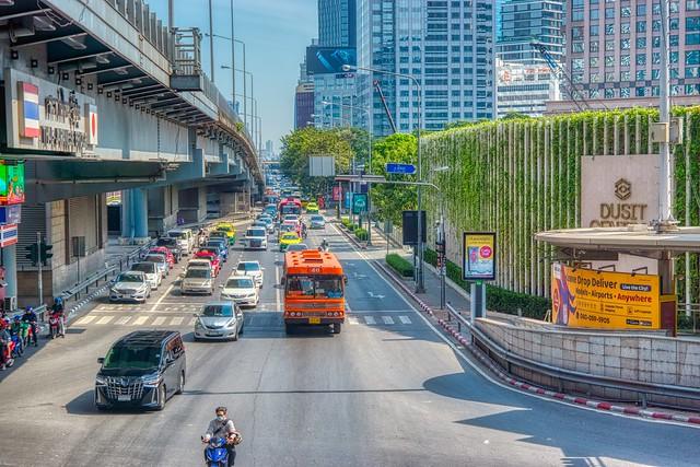 Traffic on Rama 4 road next to the Thai-Japanese bridge in Bangkok, Thailand