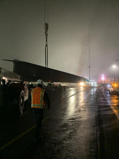 223 foot long girder on truck