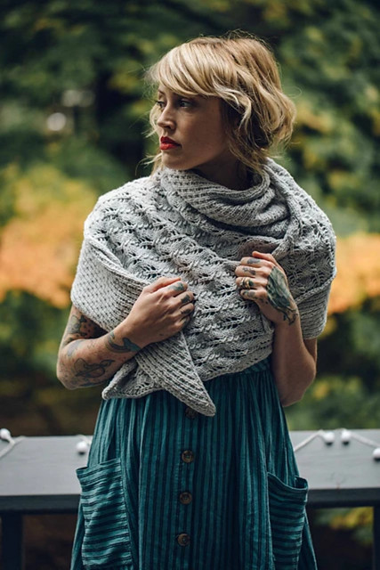 Hoarfrost by Andrea Mowry is an asymmetrical triangle shawl full of texture that reminds her of the gorgeous sparkling frost that forms like delicate crystals in the stillness of winter.