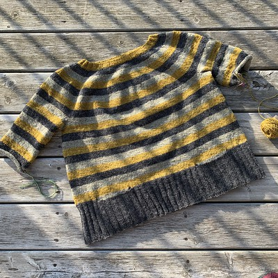 Progress of the Stripes! by Andrea Mowry pullover that is in my needles earlier this week!