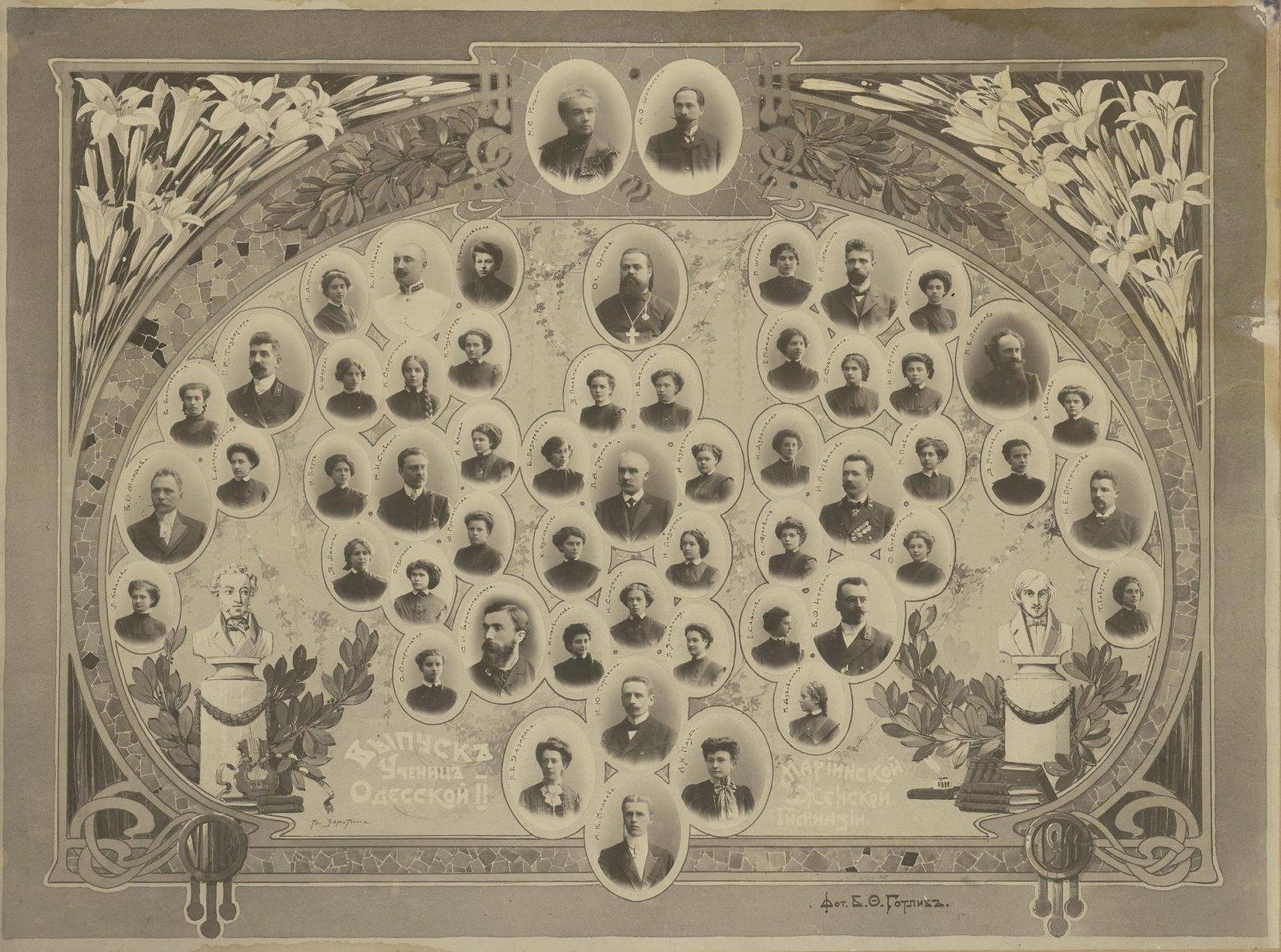 Выпускницы II Одесской Мариинской женской гимназии с преподавателями. 1907