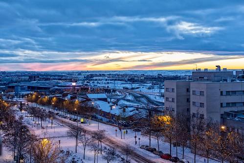 snow madrid nieve amanecer sunrise nubes