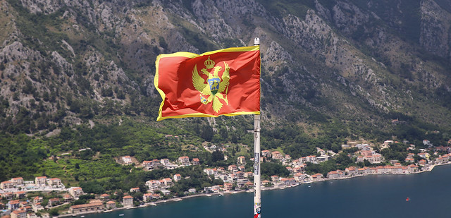 The two-headed eagle flag of Montenegro