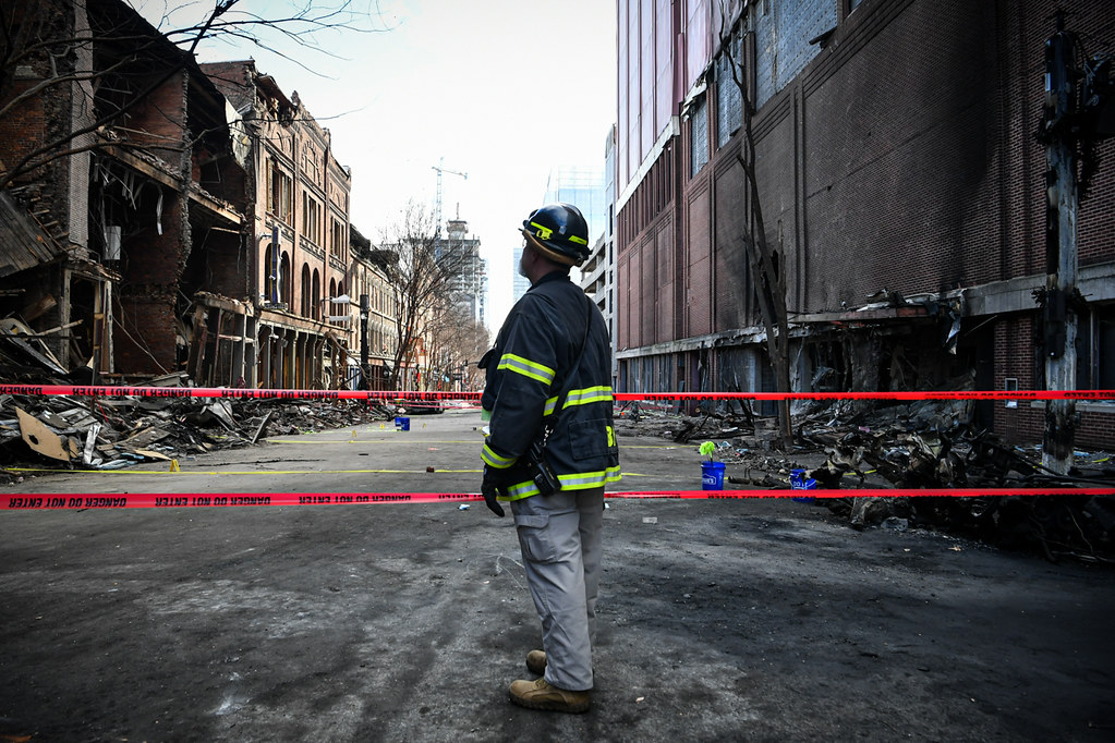 Aftermath of bombing on Christmas Day, 2020
