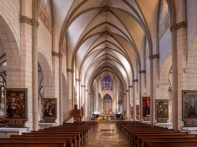 Augsburg: Dom,  Langhaus, Blick zum Westchor - Cathedral, nave seen towards the west chancel