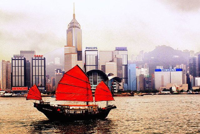 Chinese Junk, Victoria Harbour, Hong Kong
