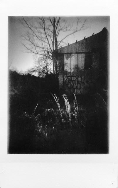 urban decay, architecture, dusk, River Arts District, Asheville, NC, Lomo'Instant, Instax Mini Monochrome, 1.7.21