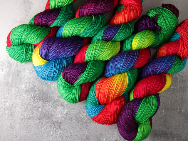 Favourite Sock – hand-dyed pure merino superwash wool 4 ply/sock yarn 100g – 'Lollipop'