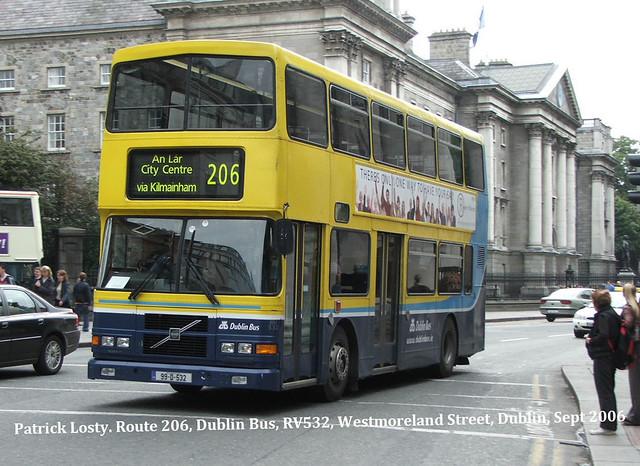 Route 206, Drumfinn Road to Aston Quay. Dublin Bus, RV532, September 2006