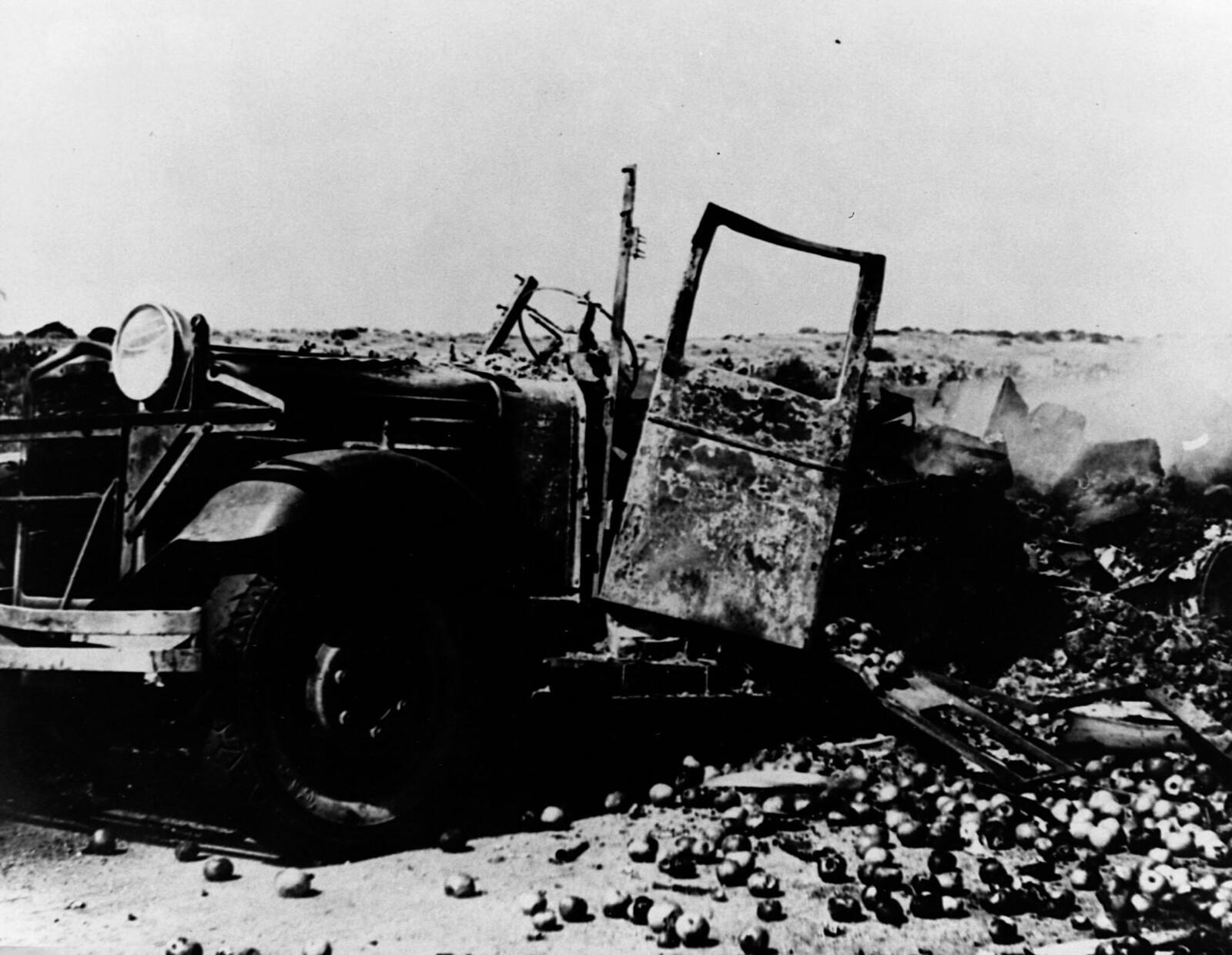 02. 1938.Распотрошенные останки еврейского грузовика с фруктами на дороге между Хайфой и Бейрутом. Арабские террористы убили еврейского водителя и пассажиров, а также сожгли грузовик. Октябрь