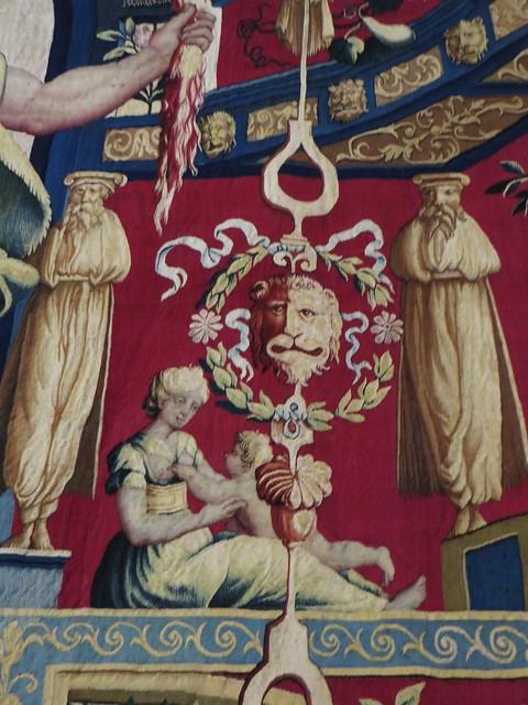 Détails, tapisserie des mois arabesques, juillet, Jupiter, 1687-88, chambre natale de Henri IV, château royal de Pau, Béarn, Pyrénées-Atlantiques, Nouvelle-Aquitaine, France.