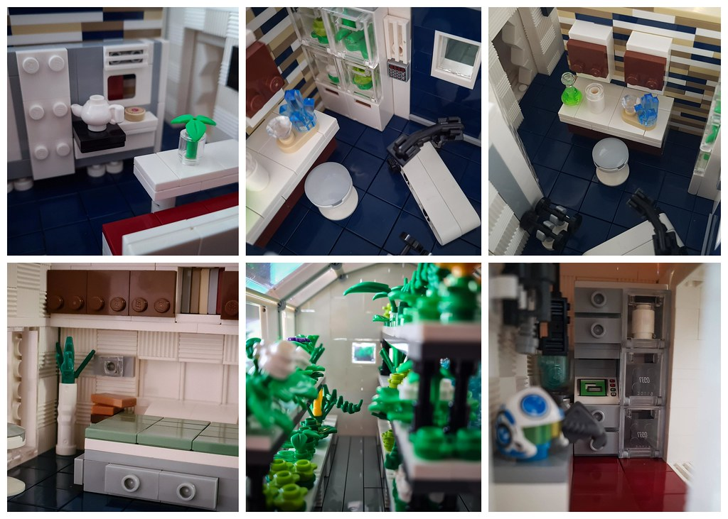 Space Colony MOC Part I - the habitat module. Interior collage.