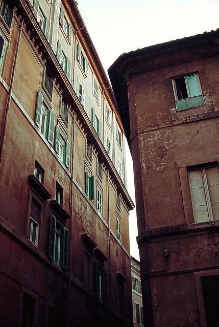 a narrow street scene