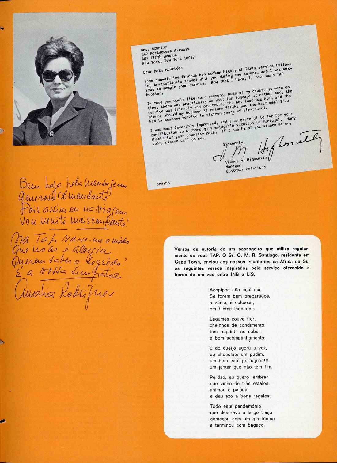 Versos de Amália à TAP, autógrafo in Inter TAP, n.º 27, Out.-Dez. 1969