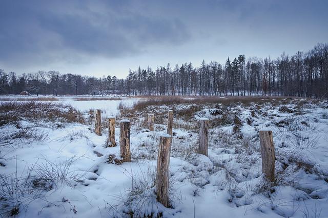 Verlassener Steg im Schnee
