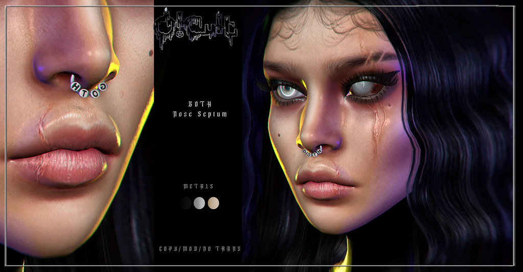 : O-CULT : Goth Nose Piercing with HUD