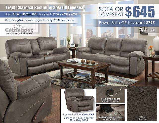 Trent Charcoal Reclining Sofa OR Loveseat_Catnapper_192_2021
