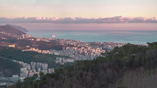 Genova righi Tramonto invernale