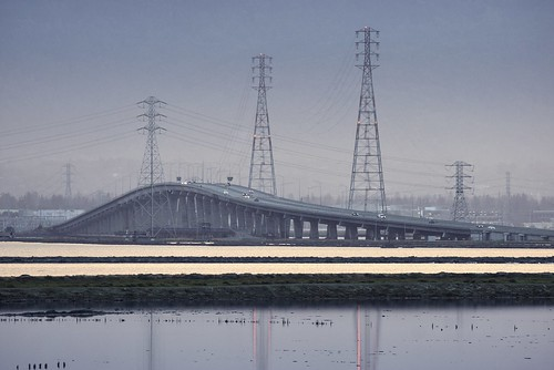 fremont california donedwardssanfranciscobaynationalwildliferefuge donedwardsnationalwildliferefuge donedwards wildliferefuge sanfranciscobay sanfranciscobayarea bay water salt pond bridge dumbartonbridge transmissionlines overheadelectricpowertransmissionlines outdoor day dusk blue hour sony sonya6000 a6000 1xp raw photomatix hdr qualityhdr qualityhdrphotography fav100 tamronsp150600mmf563 usa