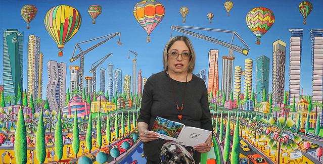 סמדר שרת ברקע ציורי תל אביב רפי פרץ ציור נאיבי אמנים ישראלים פועלים יוצרים  יחדיו ציירים מודרניים