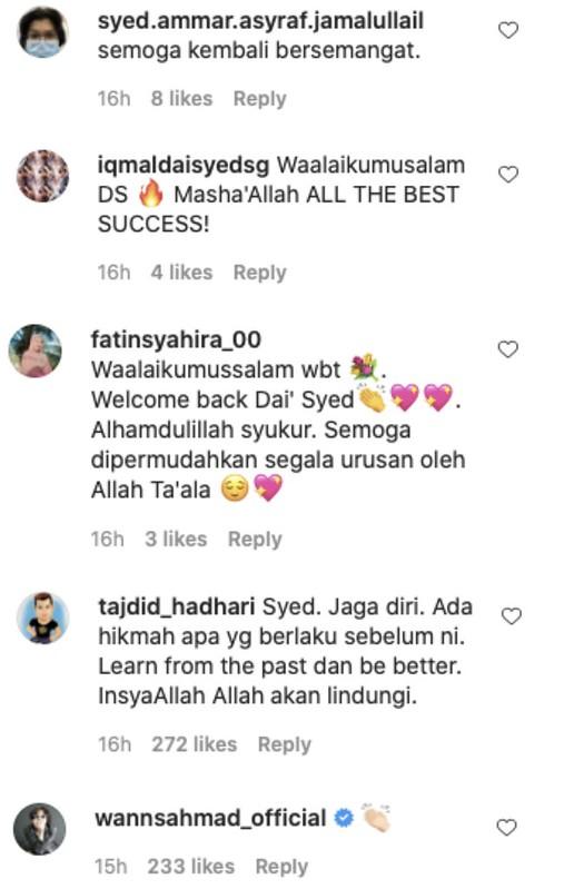 Da'i Syed Kembali Aktif Di Media Sosial, Peminat Doakan  Semoga Terus Kuat