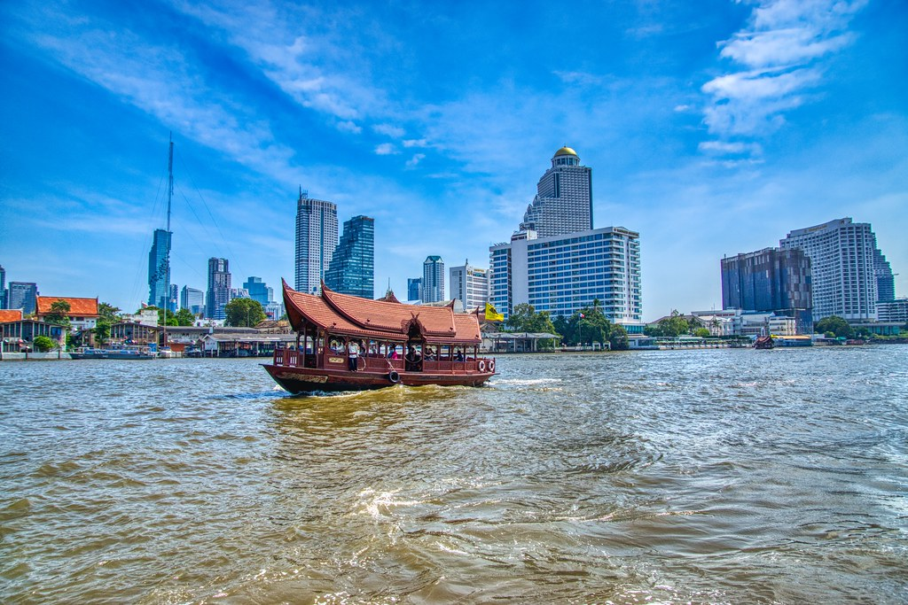Shuttle boat of the Mandarin Oriental hotel on the Chao Phraya river in Bangkok, Thailand