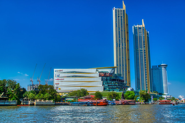 ICON SIAM shopping mall and condominium towers by the Chao Phraya river in Bangkok, Thailand