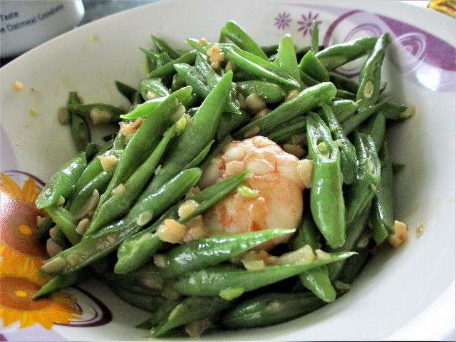 French beans with prawns