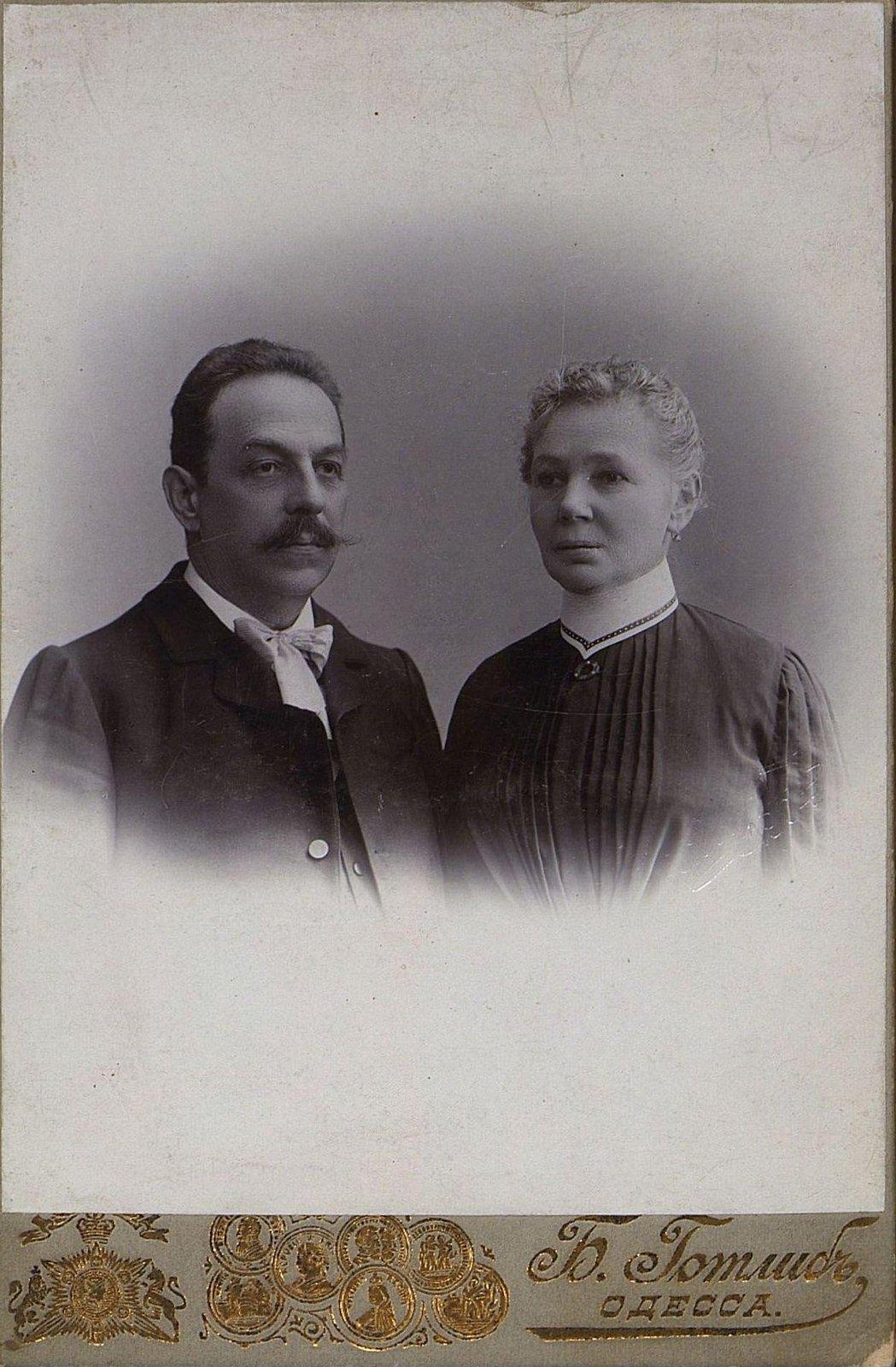 Канторелли Перикл, артист Одесского городского оперного театра, с женой. 1904