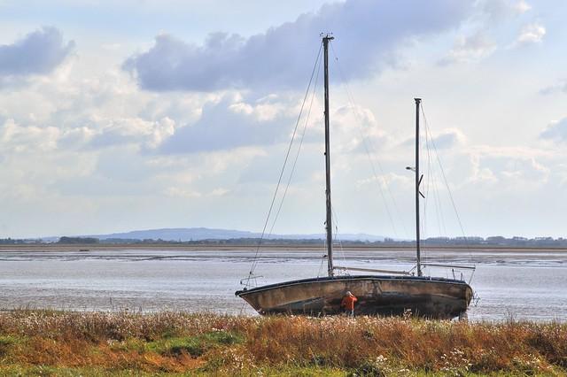 Boat on the beach at Lytham Lancashire