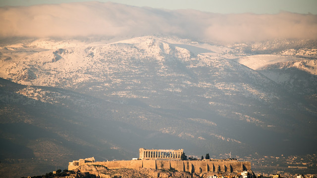 Athens in the snow